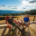 Airbnb hosts Alan and Dabney at their lookout tower