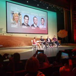 Airbnb founders at LA Open. Photo credit hostingyourhome.com podcast